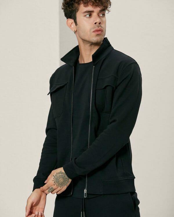 Flap Pockets Black Track Jacket For men, Sports Wear For Men , البسة رجالية