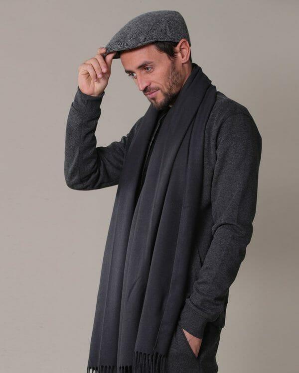 Grey Cap, soft wool Scarf ,