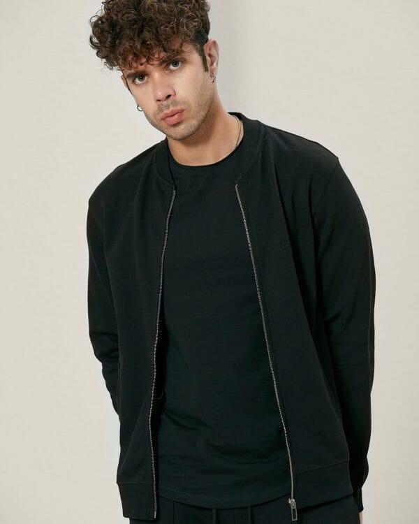 bomber style black track jacket For men, Causal Wear For men, البسة رجالية , Men's Fashion