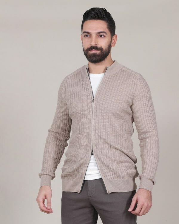 braided texture beige cardigan for men, Causal Wear For men, Casual Fashion for men