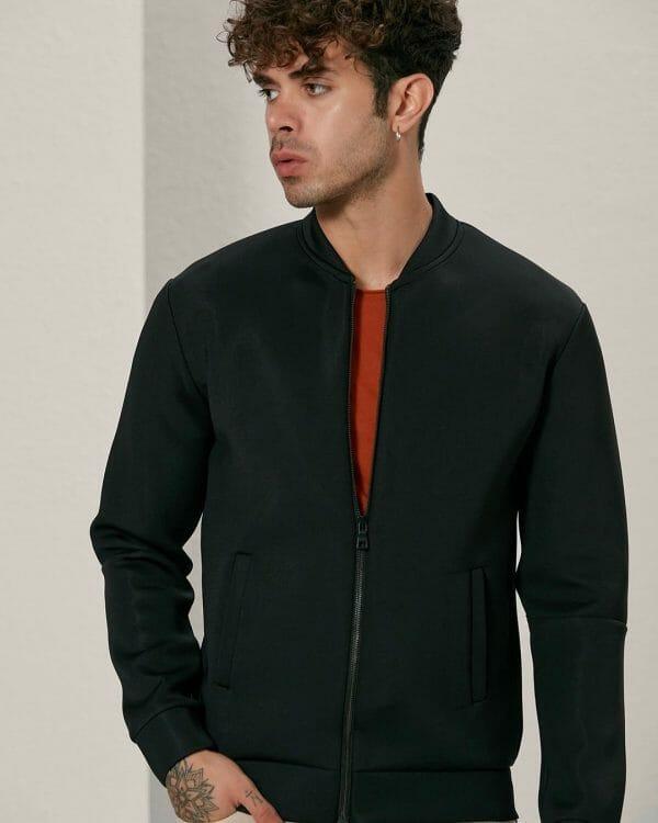 Black charcoal scuba bomber jacket, Casual Wear For Men, Men's Fashion , البسة رجالية