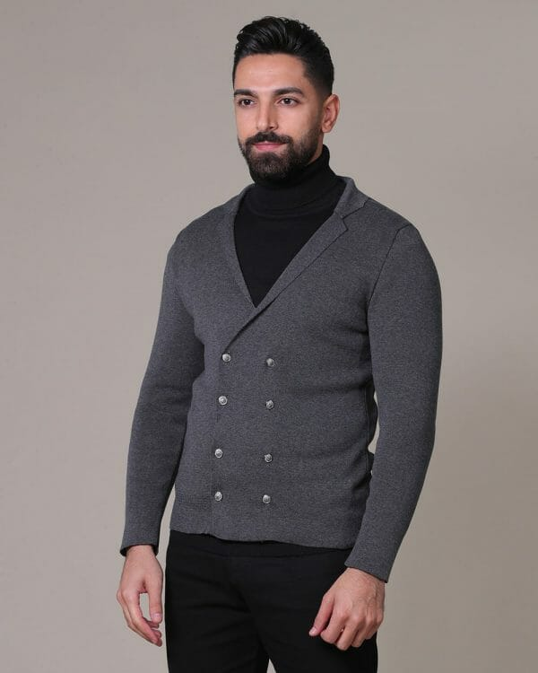 Breasted grey Cardigan for men
