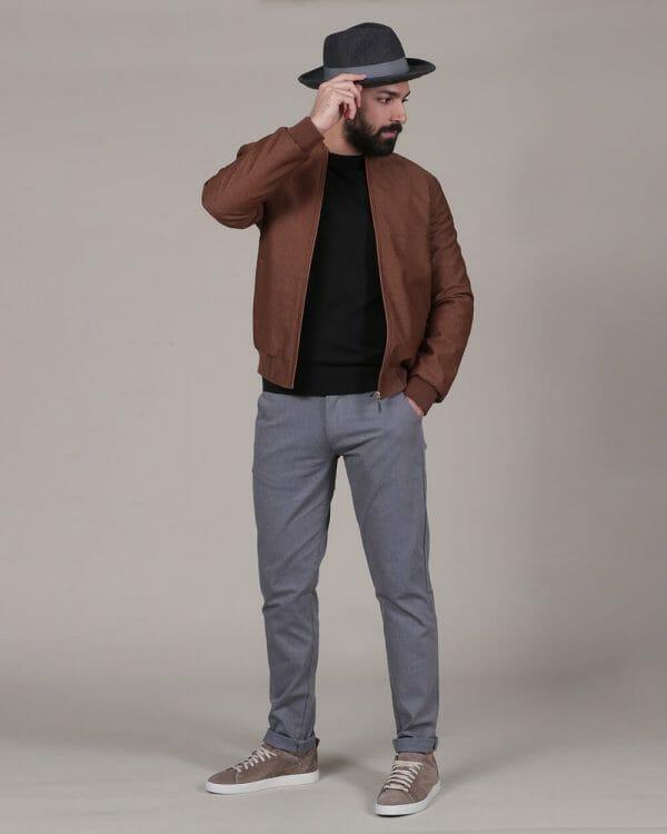 plain black sweater, plain Havana bomber jacket , Causal Wear For men, Men's Fashion