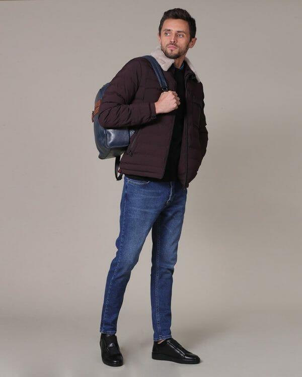 Plain black sweater for men , Faux fur Jacket ,