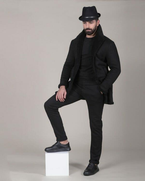 black sweater, thicken down black coat for men, Causal Wear For men, Men's Fashion