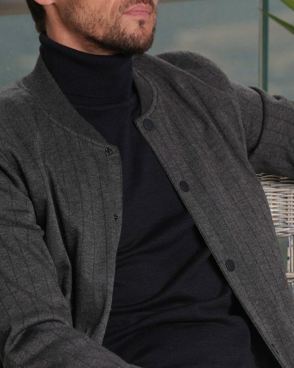 Grey Strip Bomber Jacket For men, Causal Wear For men, البسة رجالية , Men's Fashion