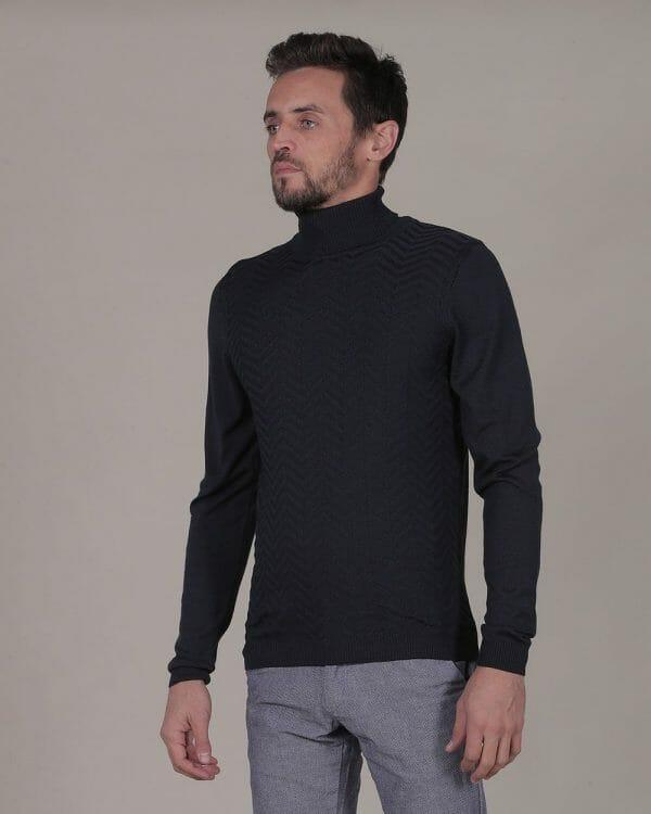 zigzag patterned navy turtleneck For men , Causal Wear For men, Casual Fashion for men